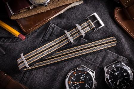 New Bond - Black, Beige and Gray Premium Seat Belt Slip Through Nato Watch Strap (20 & 22mm) - No Time To Die