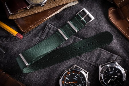 Night Green Premium Silky Seat Belt Slip Through Nato Watch Strap (20 & 22mm)