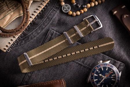 Oil Green and Beige Premium Twill Slip Through Nato Watch Strap (20 & 22mm)