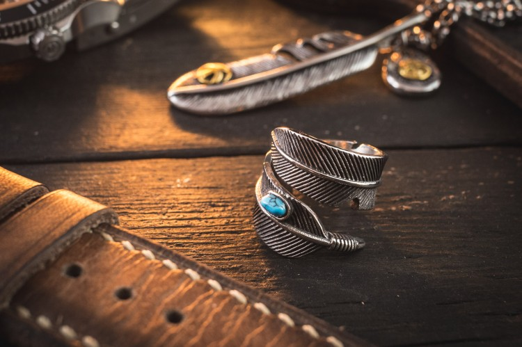 Ermias - Antiqued Feather Shape Stainless Steel Men's Ring with Turquoise Bead from STRAPSANDBRACELETS