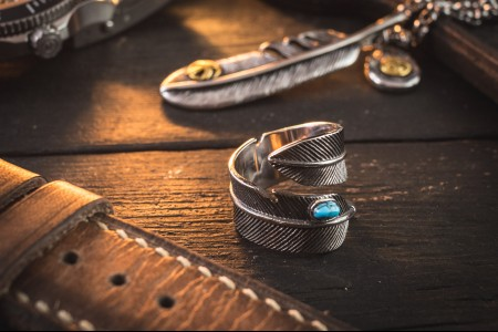 Ermias - Antiqued Feather Shape Stainless Steel Men's Ring with Turquoise Bead