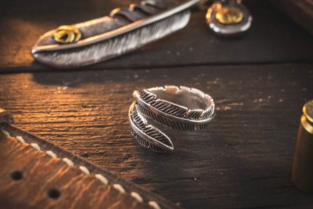 Killian - Feather Shape Antiqued S925 Sterling Silver Men's Ring