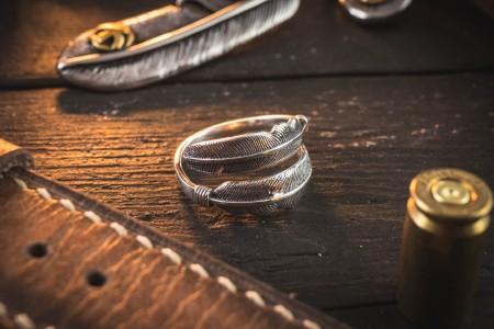 Kal - Feather Shape Antiqued S925 Sterling Silver Men's Ring