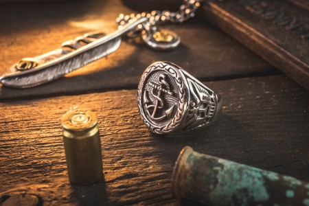 Clarke - Antiqued Stainless Steel Anchor Men's Signet Ring - Sailor Ring