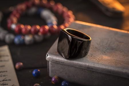 Bram - Black PVD Coated Stainless Steel Square Men's Signet Ring
