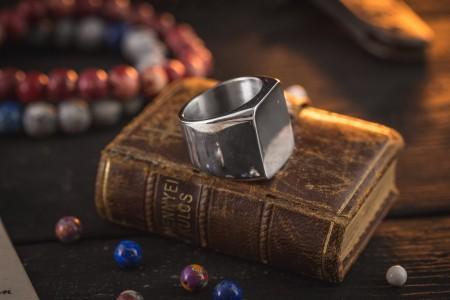 Caspar - Stainless Steel Square Men's Signet Ring