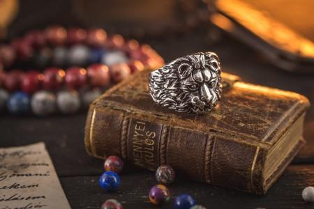 Lawe - Antiqued Stainless Steel Lion Head Men's Signet Ring