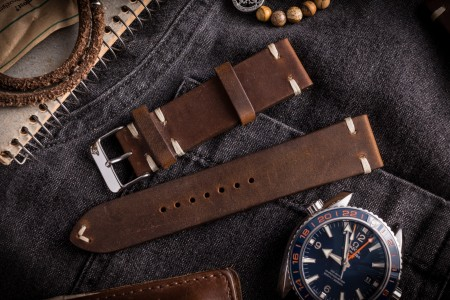 Vintage Style Dark Brown Leather Strap For Watches (20 & 22mm), Two Stitch Watch Strap