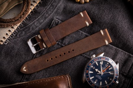 Vintage Style Dark Brown Leather Strap For Watches (20mm), Two Stitch Watch Strap